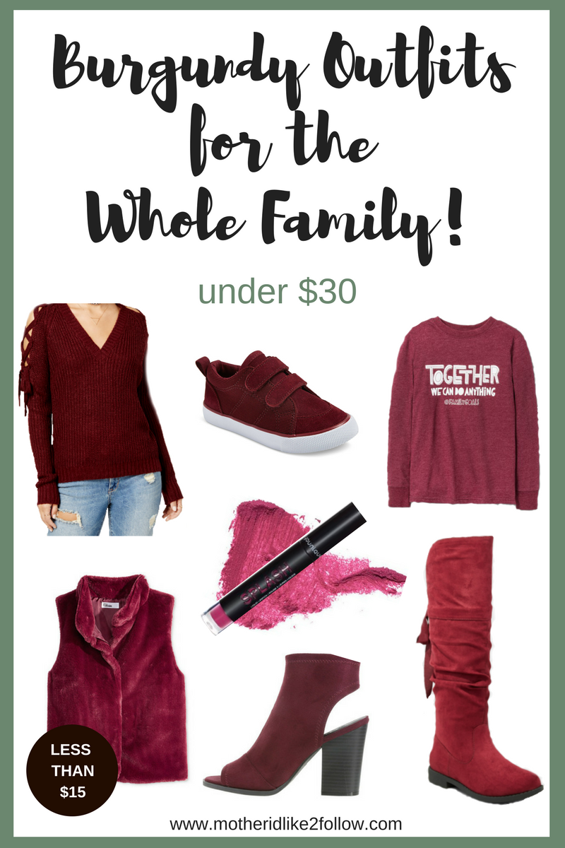Burgundy Outfits For The Whole Family Under $30